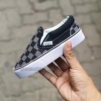 Sepatu vans anak slip on checkerboard black grey