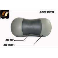 Headrest Bantal Leher / Mobil Kulit Sintetis Warna Abu Muda + Abu Tua