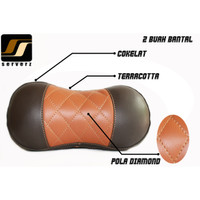 Headrest Bantal Mobil / Leher Kulit Sintetis Cokelat + Teracota Custom