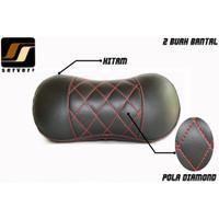 Headrest Bantal Mobil / Leher Bahan Kulit Sintetis Warna Hitam Custom - Putih