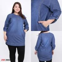 Blouse Atasan Big Size Jumbo Jeans Denim Baju Cewek Formal 3801 3901 3