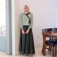 Baju Gamis Muslim Dress Syari HANURA PR001 Gaun wanita Green