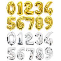 Balon Foil Jumbo 80cm / 80 cm Angka Gold Silver
