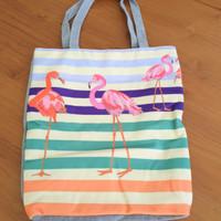 Tas Tote Bag Kanvas Tebal Fashion Korea flamingo Unicorn Owl