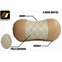Headrest Bantal Leher / Mobil Kulit Sintetis Peanut + Ivory Custom