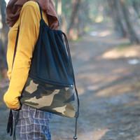 String Bag Tas Serut Kanvas ARMY Combine Hitam