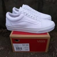 Sepatu kasual Sneakers Kets Vans Old school Full White grade ori