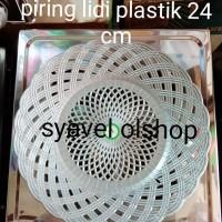 Piring lidi plastik/piring motif lidi/rotan anyaman per lusin