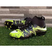 Sepatu Sepak Bola Nike Hypervenom High Camo Hitam Hijau Soccer Import