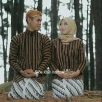 baju couple lurik   couple batik   khas solo   khas jawa   khas jogja - Cokelat, M