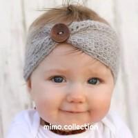 Knit Button Baby Headband Bando Bandana Rajut Kancing Turban Anak Bayi