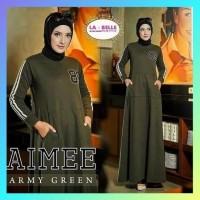baju gamis muslim wanita dress syari casual blouse abaya maxi army
