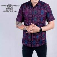 Kemeja Batik songket Pria Lengan Pendek Best Seller/Murah Keren Modern - Hijau, M