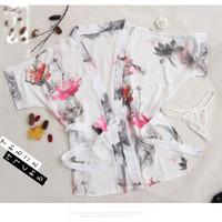 Kimono Lingerie Sexy g string Baju Tidur Bahan Sifon Dicetak A187-2
