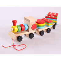 Kereta Kayu Mainan Anak Montessori Edukasi Puzzle Balok Warna Warni