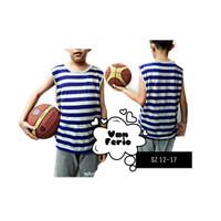Singlet Olahraga Baju Kaos Tanpa Lengan Salur Anak Remaja
