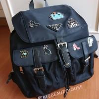 tas ransel backpack prada nylon robot pin