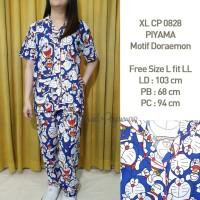 Piyama Motif Doraemon Lucu CP Katun Japan Free Size Wanita XLCP 0828