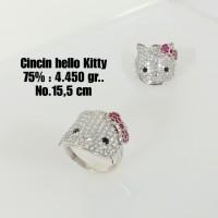 Cincin Hello Kitty Emas / Mas Putih 75% Berat 4.450 Gram No.15,5..
