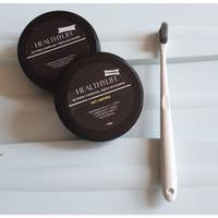 PAKET HEMAT whitening charcoal powder pasta gigi arang + SIKAT GIGI