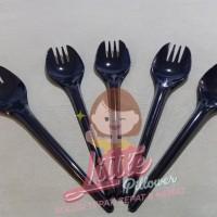 Sendok Garpu 2in1 HITAM/Sendok Makan Garpu Makan/Sendok Plastik