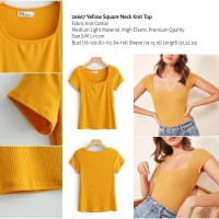 Yellow Square Neck Knit Top (size S,M,L) - 26667