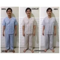 Piyama Pria Lengan Pendek Celana Panjang dan Celana Pendek Merk SWAN