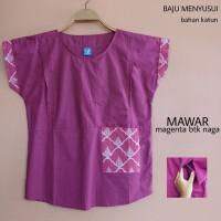 Mamigaya Baju Hamil Menyusui Mawar Magenta Batik Naga