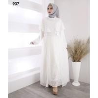Gamis Brukat Putih / Baju Muslim / Dress Wanita #907