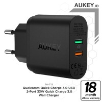 Aukey PA-T13 Wall Charger with Quick Charge 3.0 - Hitam [33W/2 port]