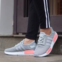Adidas NMD R1 Primeknit Grey Pink / Abu Sepatu Wanita Running Gym