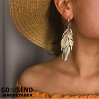 Anting Tusuk Emas Bulu Daun Zara vintage Korea Boho Bohemian Panjang