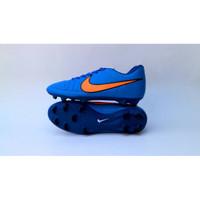 sepatu nike tiempo bola dewasa biru list orange