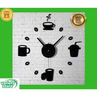 Jam Dinding DIY Giant Wall Clock Quartz Model Cangkir Kopi Cafe 70cm