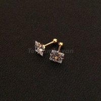 Anting emas anting zircon - square cut prong stud earring