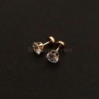 Anting emas anting zircon - crown cut prong stud earring