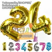 Balon Foil Huruf dan Angka Besar 80cm (Gold, Silver, Pink, Biru)