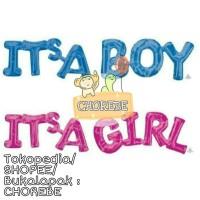 Balon Foil Baby Shower Tulisan Its A Boy / Its A Girl