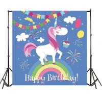 Termurah 5x7FT Cartoon Unicorn Birthday Party Photography Backdrop
