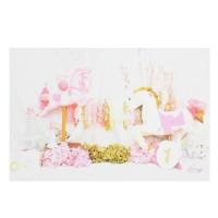 Termurah 5x3ft 7x5ft Pink Flowers Drape Unicorn Photography Backdrop