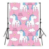 Termurah 3x5FT Cartoon Pink Unicorn Cloud Photography Backdrop