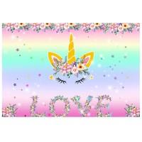 Termurah 7x5ft Unicorn Love Flowers Photography Backdrop Studio Prop