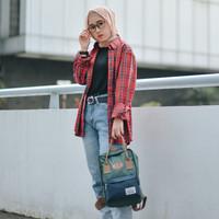 Tas Ransel Mini Backpack Laptop Wanita Casual - ATVA Kubo Olive Navy