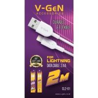 Kabel Data Lightning V-GeN CL2-01 Kabel iPhone 2.4A VGEN USB 2 Meter