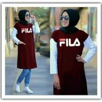 FashionOS - Baju Wanita Tunik Muslim Motif Fila Babyterry 19698