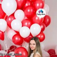 Balon Latex Doff Merah Putih / Balon Merah Putih Per Pack (100pcs) - Putih