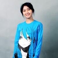Kaos Baju Anime Distro Vocaloid Hatsune Miku Biru Lengan Panjang