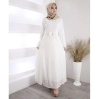 [BEST SELLER] Baju Gamis Putih Brukat / Baju Busana Muslim Wanita #815