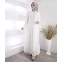 Baju Gamis Putih Brukat / Baju Busana Muslim Wanita #901