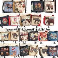 Sling bag kanvas / selempang thailand import / tas bangkok gajah owl